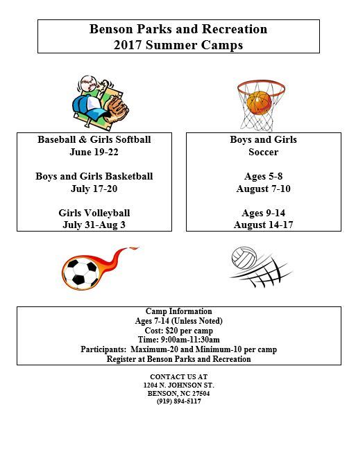 Parks and rec summer camp flyer 2017